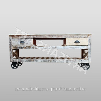 Hand Painted Whitewash Reclaimed 2 Drawer Tv Stand With Wheel Pertaining To Recent Hand Carved White Wash Console Tables (View 10 of 20)