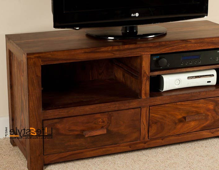 Handcrafted Sheesham Wooden Tv Stand With 2 Drawers Manufacturer In Inside Most Recently Released Sheesham Tv Stands (Gallery 14 of 20)