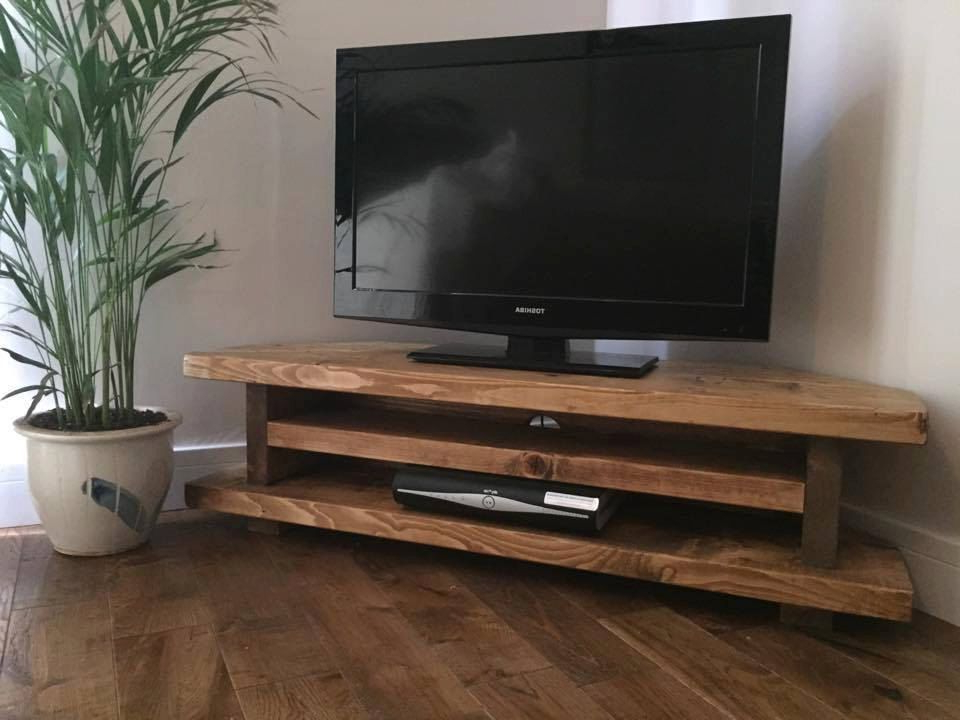 Handmade In The Uk Chunky Rustic Tv Corner Unithampshirerustic Throughout Famous Unique Corner Tv Stands (View 10 of 20)