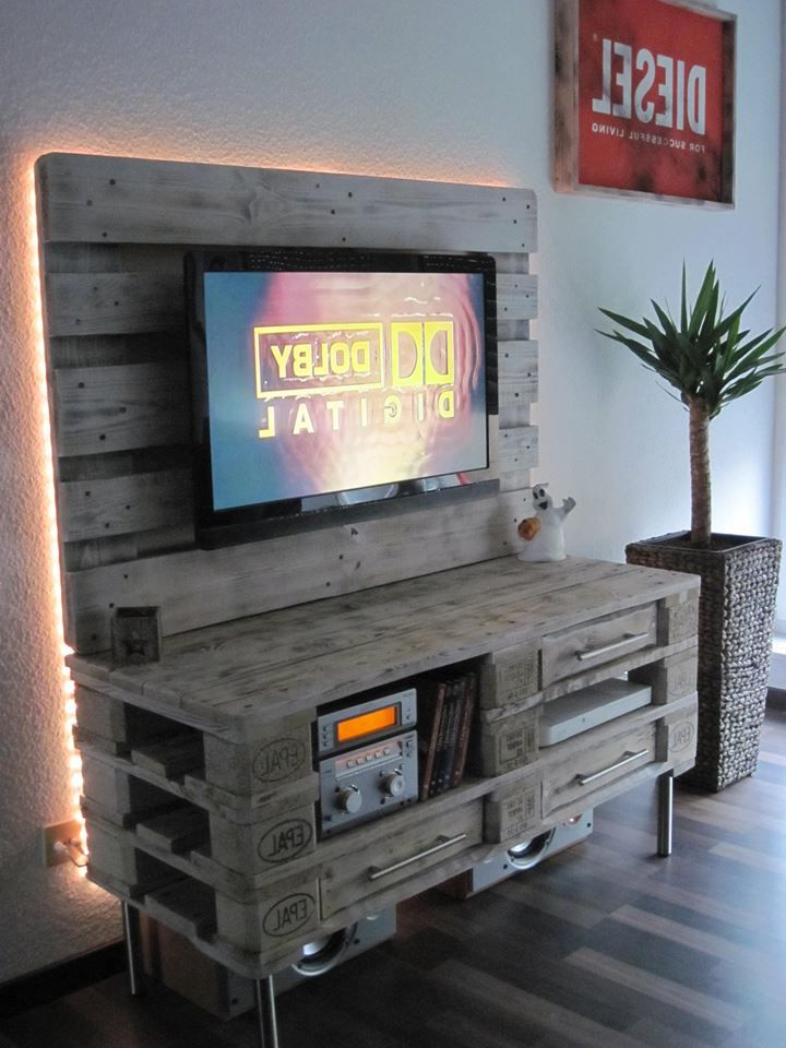 Handmade Pallet Media Console Table With An Upright Back Panel Throughout Most Popular Tv Stands With Back Panel (View 20 of 20)