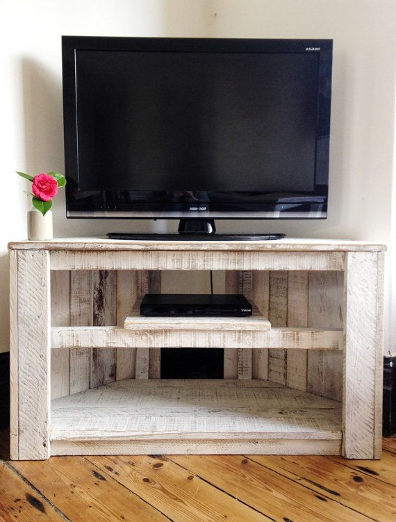 Handmade Rustic Corner Table/tv Stand With Shelf. Reclaimed And Pertaining To Trendy Tv Cabinets Corner Units (Gallery 6 of 20)