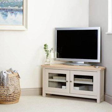 Hardwood & Painted Corner Tv Units (Gallery 14 of 20)