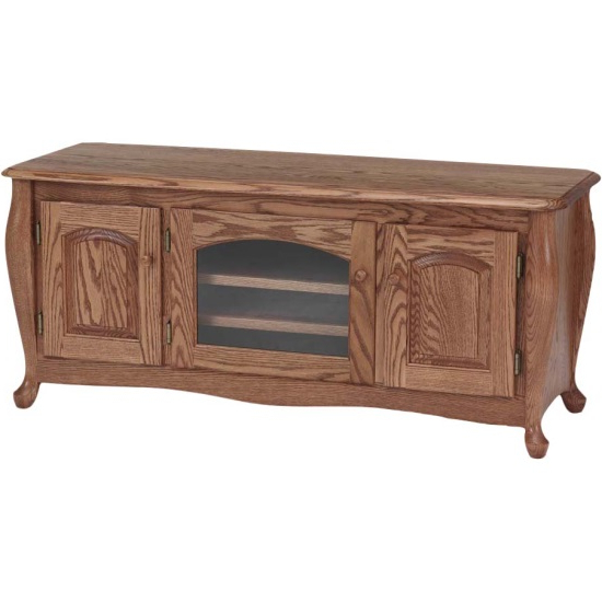"""Hardwood Tv Stands Throughout Most Recently Released Queen Anne Solid Wood Oak Tv Stand W/cabinet – 51"""" – The Oak (Gallery 4 of 20)"""