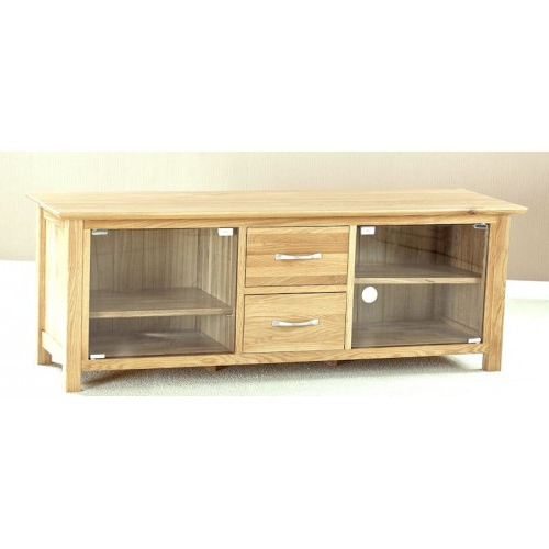 Helsinki Oak Large Glass Door Tv Cabinet Intended For Recent Oak Tv Stands With Glass Doors (View 2 of 20)
