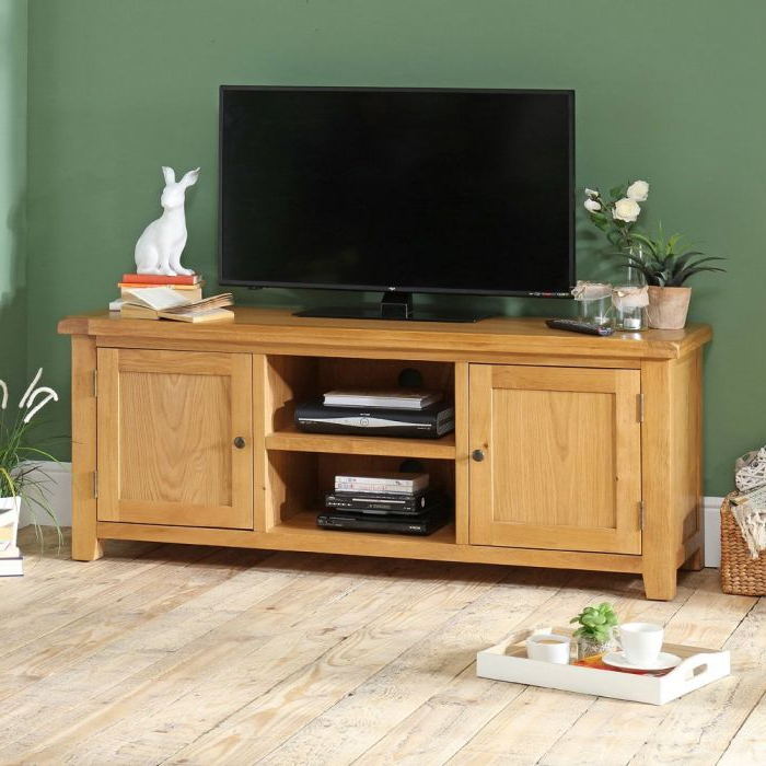 "Hereford Rustic Oak Large Widescreen Tv Unit – Up To 64"" Tv Size Pertaining To Best And Newest Oak Widescreen Tv Units (View 6 of 20)"