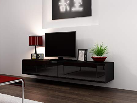 High Gloss Tv Stand Entertainment Cabinet – 180Cm Floating Wall Unit In Best And Newest Black Gloss Tv Stands (View 9 of 20)