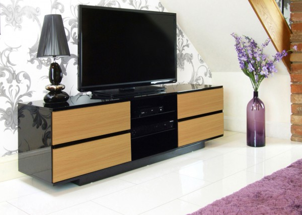 High Gloss Tv Units & Black Av Cabinets With Drawers With Popular Shiny Black Tv Stands (Gallery 17 of 20)