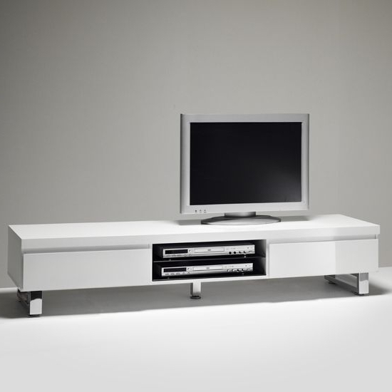 High Gloss White Tv Stands Inside Preferred Sydney Lowboard Tv Stand In High Gloss White 48900W (View 8 of 20)