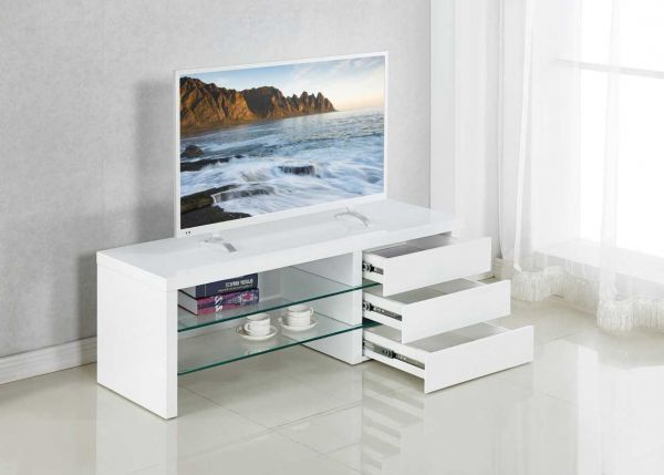 High Gloss White Tv Stands Intended For Popular Contemporary White Tv Stand With Glass Shelves (Gallery 5 of 20)