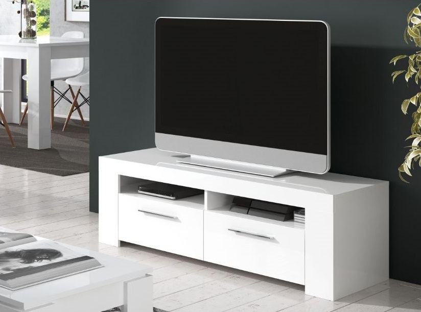 Home Est Crystal White Gloss Tv Cabinet Entertainment Unit Within Widely Used White Tv Cabinets (View 6 of 20)