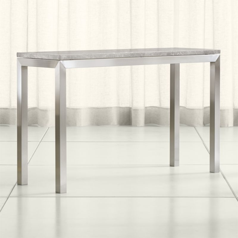 Home For Parsons Clear Glass Top & Dark Steel Base 48X16 Console Tables (Gallery 8 of 20)