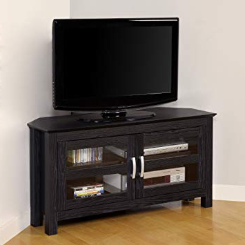 Home Loft Concept 44 Black Wood Corner Tv Stand: Amazon.co (View 5 of 20)