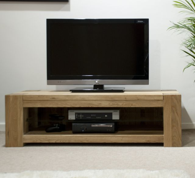 Homestyle Trendy Lifestyle Solid Oak 120Cm Wide Tv Unit – Tv In Well Known Chunky Tv Cabinets (View 11 of 20)