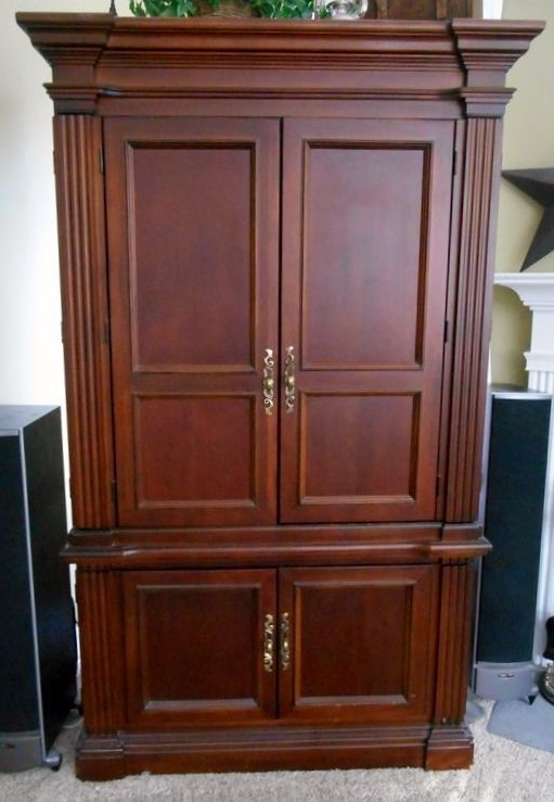 Hooker Dark Cherry Stained Tv Armoire W/ Pr Swivel Black Leather Intended For Most Recent Cherry Tv Armoire (Gallery 2 of 20)