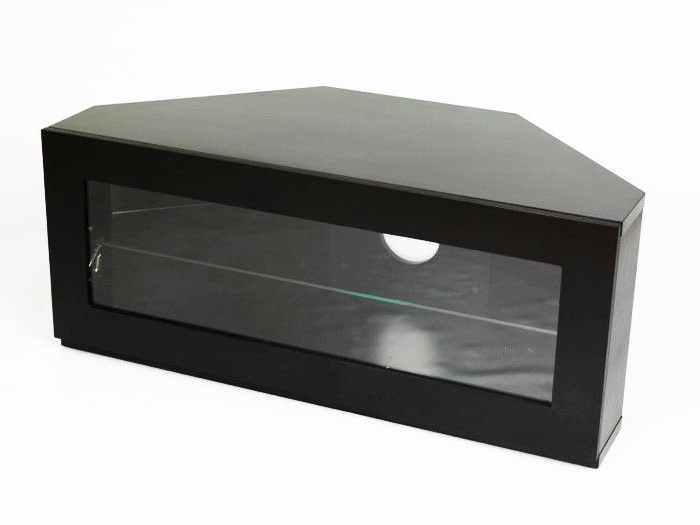 "Iconic Manzini Black Satin Corner Tv Stand For 24"" To 32"" Tv's In Most Current Iconic Tv Stands (Gallery 11 of 20)"