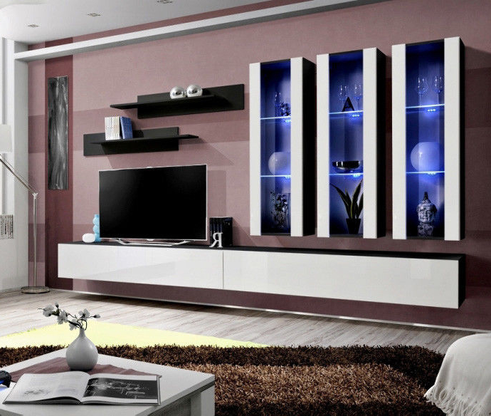 Idea E4 – Modern Tv Wall Unit / Entertainment Center Cabinet / Media With Regard To Recent Vista 68 Inch Tv Stands (View 9 of 20)