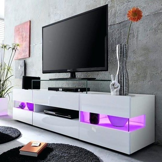 Ikea White Gloss Tv Units Intended For Newest White Tv Unit White Stand With High Gloss Fronts Led Lighting White (View 11 of 20)