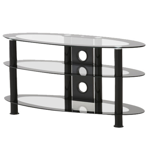 Impressions Black Oval Tv Stand With 3 Clear Glass Shelves : Tv For Trendy White Oval Tv Stands (View 7 of 20)