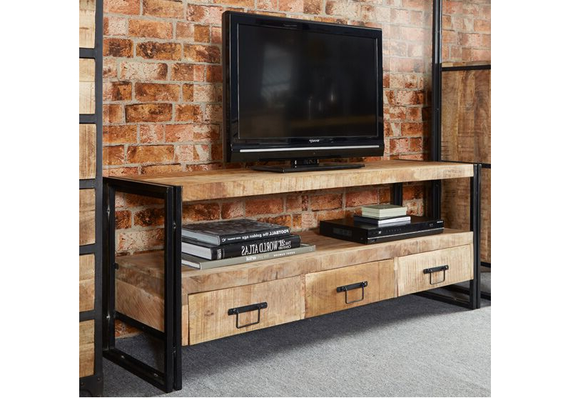 Indian Hub Cosmo Industrial Hardwood And Metal Large Plasma Tv Stand For Trendy Industrial Metal Tv Stands (View 13 of 20)