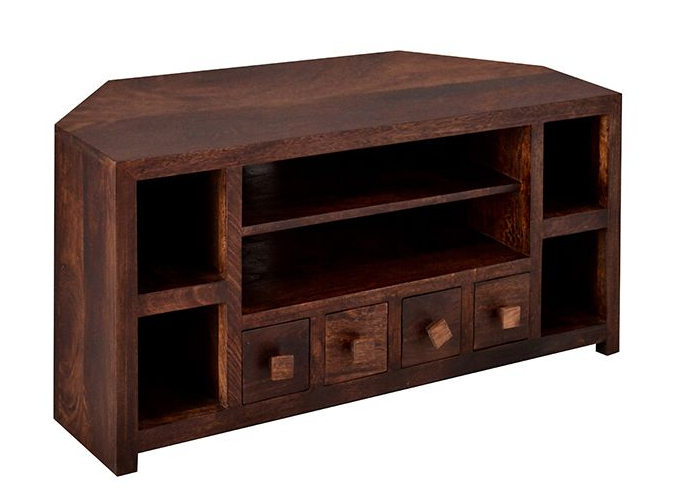Indian Hub Toko Dark Mango Corner Tv Unit From The Bed Station In 2018 Dark Brown Corner Tv Stands (View 13 of 20)
