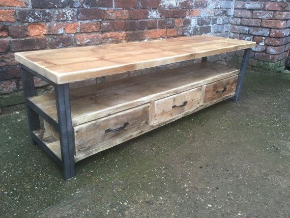 Industrial Chic Reclaimed Wood Tv Stand Media Unit With 3 Drawers With Regard To Well Known Metal And Wood Tv Stands (View 2 of 20)