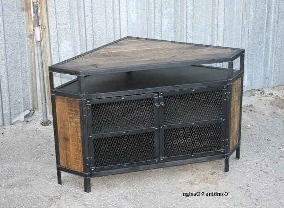 Industrial Corner Unit With Reclaimed Wood. Tv Stand (View 8 of 20)