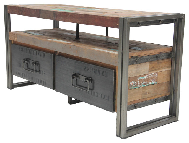 Industrial Style Tv Stands For 2017 Salvaged Boat Wood Tv Console With 2 Drawers, Samudra Style (View 7 of 20)