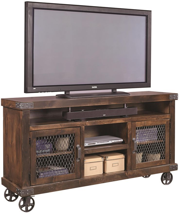 "Industrial Tv Cabinets Regarding Most Popular Industrial 65"" Console With Metal Castersaspenhome In  (View 12 of 20)"