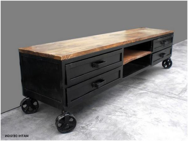 Industrial Tv Stand On Wheels, Tv Furniture Mathi Design Throughout Latest Wooden Tv Stand With Wheels (Gallery 3 of 20)