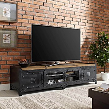 Industrial Tv Stands Pertaining To Most Current Amazon Com Modway Dungeon Industrial Pine Wood And Steel Tv Stand In (Gallery 20 of 20)