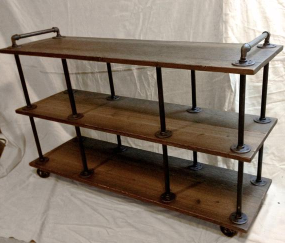 Industrial Tv Stands With Regard To Current Industrial Tv Stand Iron And Wood For 46 To  (View 13 of 20)
