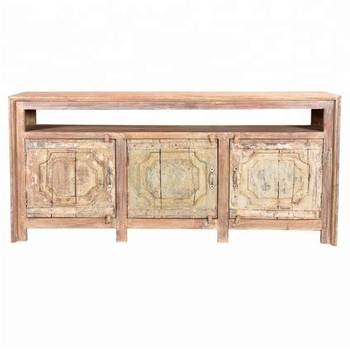Industrial & Vintage Old Mango Wood Indian Furniture Carved 3 Door  Distressed Painted Entertainment Tv Cabinet – Buy India Furniture Tv Inside Popular Mango Wood Tv Cabinets (View 5 of 20)