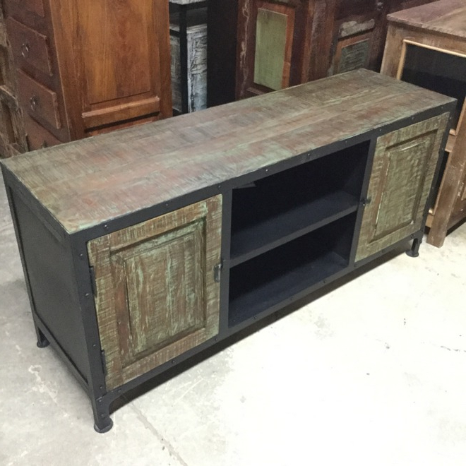 Iron And Wood Industrial T.v. Stand – Nadeau Memphis Intended For Well Known Industrial Tv Stands (Gallery 16 of 20)