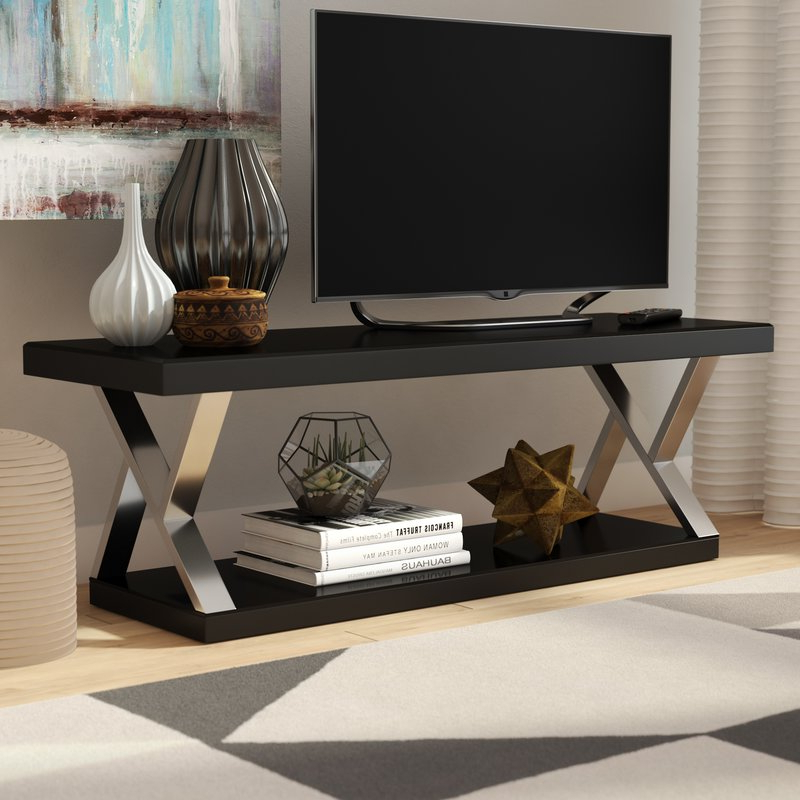Ivy Bronx Elmer Double V Design Modern Tv Stand For Tvs Up To 65 Throughout Favorite Modern Tv Cabinets For Flat Screens (View 19 of 20)