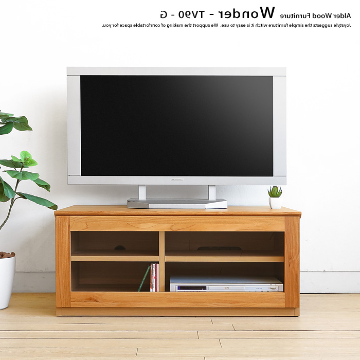Joystyle Interior: 90 Cm Wide Alder Wood Alder Solid Wood Compact Within Newest Wooden Tv Stands With Glass Doors (View 6 of 20)