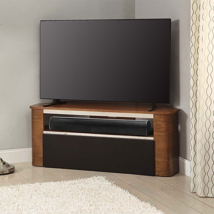Jual Havana Curved Walnut Tv Stand Suitable For Use With Soundbars Inside Well Known Walnut Tv Stands (Gallery 2 of 20)