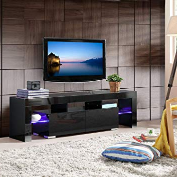 Kai 63 Inch Tv Stands Regarding Most Popular Amazon: Mecor Modern White Tv Stand With Led Lights, 63 Inch (View 8 of 20)