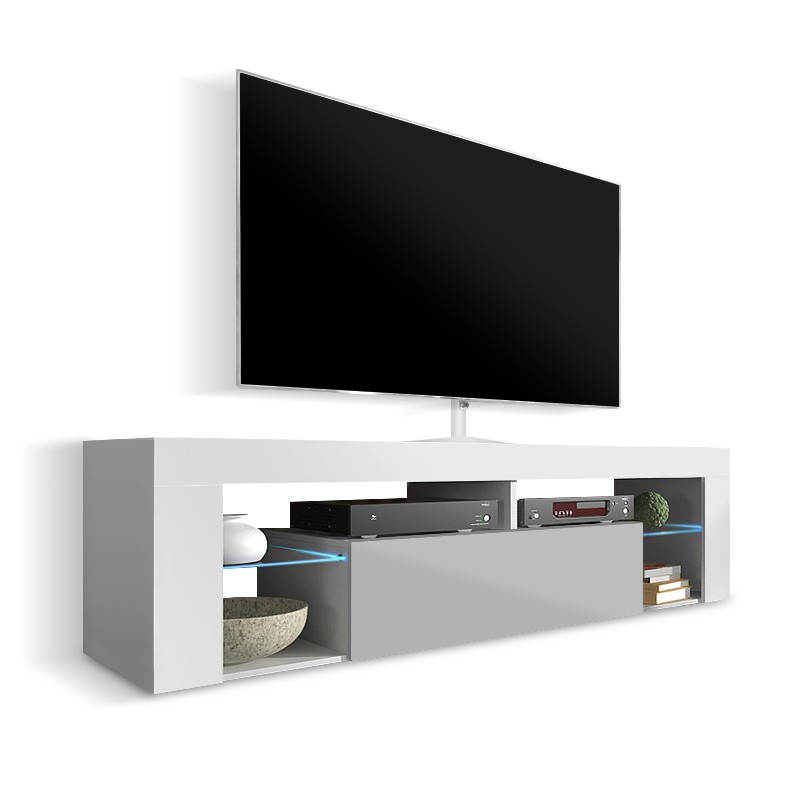 Ken White And Grey Gloss Tv Stand 140Cm Or 160Cm With Most Recently Released High Gloss Tv Benches (Gallery 8 of 20)
