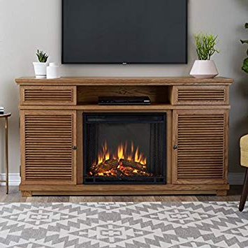 Kilian Grey 60 Inch Tv Stands Regarding Well Known Amazon: Real Flame Cavallo Fireplace Tv Stand In Elm: Home & Kitchen (Gallery 12 of 20)