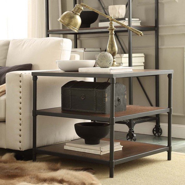 Kilian Grey 74 Inch Tv Stands Within Favorite Shop Harrison Industrial Rustic Pipe Frame Accent End Table (View 13 of 20)