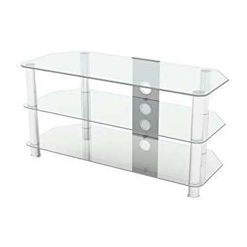 "King Universal Clear Glass Tv Stand 100Cm Suitable Up To 50"" Inch With Well Known Clear Glass Tv Stand (Gallery 8 of 20)"