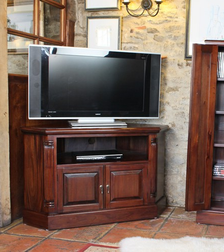 La Roque Solid Mahogany Corner Tv Cabinet Throughout Newest Mahogany Corner Tv Cabinets (Gallery 6 of 20)
