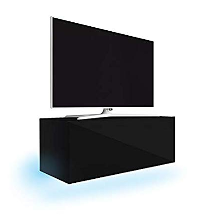 Lana Floating Tv Wall Unit/tv Stand (100 Cm, Matt Black/gloss Black Throughout Latest Tv Unit 100Cm (View 6 of 20)