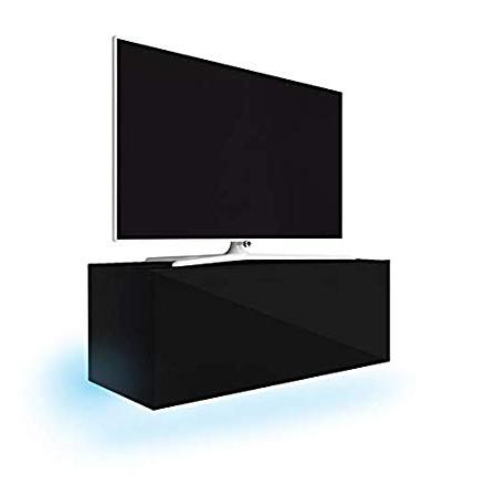 Lana Floating Tv Wall Unit/tv Stand (100 Cm, Matt Black/gloss Black Throughout Latest Tv Unit 100cm (View 20 of 20)