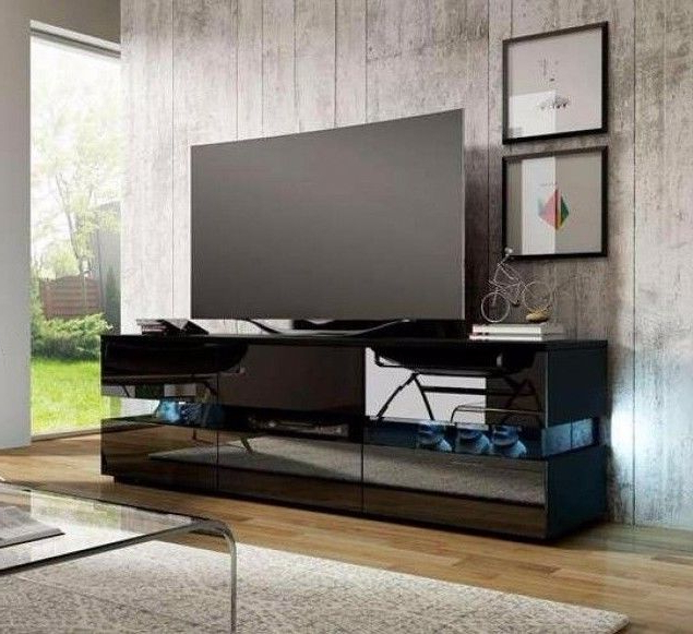 Large Black Tv Unit Intended For 2017 Modern Large Black High Gloss Tv Cabinet Entertainment Media Led (View 8 of 20)