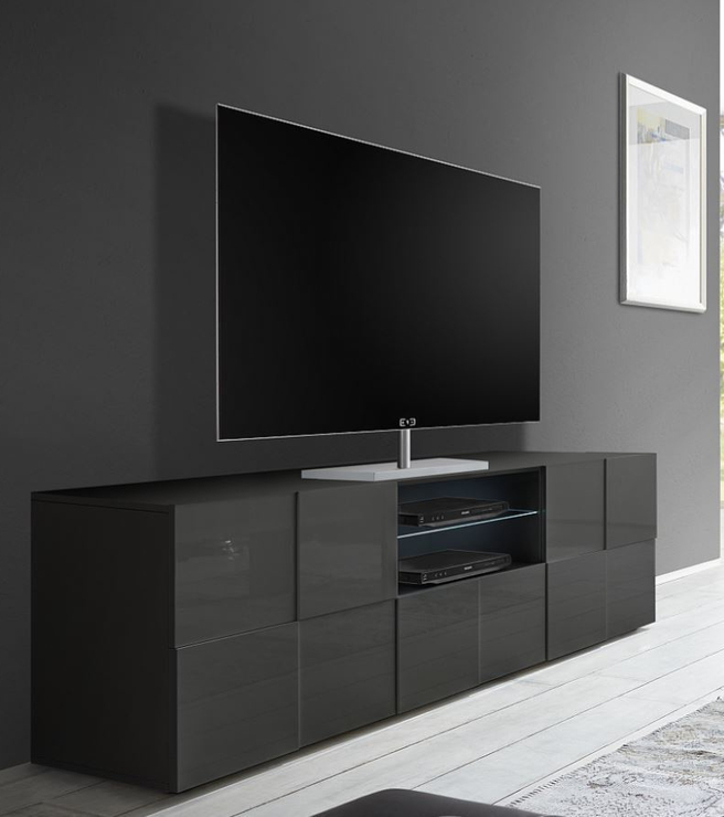 Large Black Tv Unit With Regard To Current Treviso Large Tv Unit – Gloss Grey (Gallery 6 of 20)