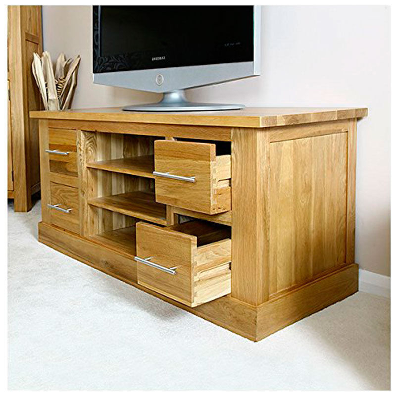 Large Light Oak Tv Cabinet Stand With Drawers Throughout Newest Light Oak Tv Cabinets (View 3 of 20)