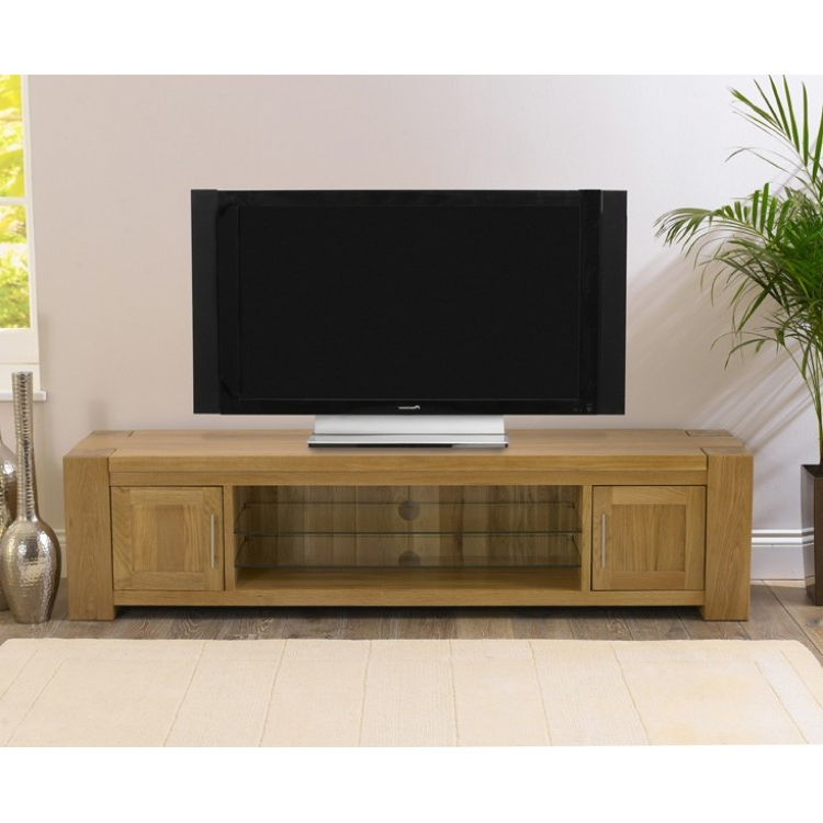 Large Oak Tv Stands For Most Current Buy Tampa Solid Oak Tv Stand From Oak Furniture House (Gallery 4 of 20)