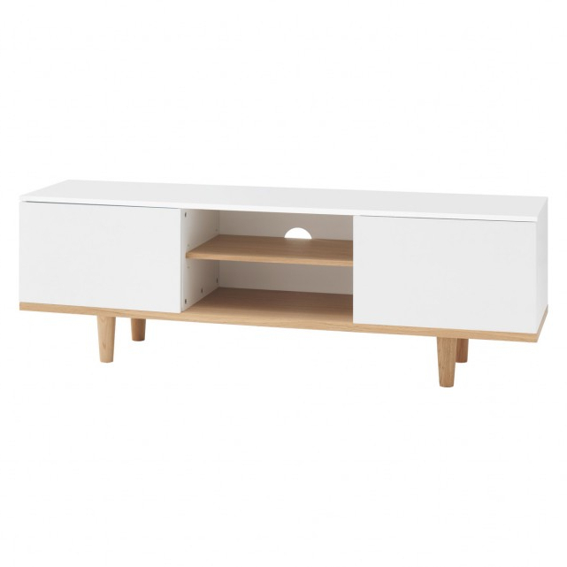 Large White Tv Stands For Current Elliott White Large Tv Stand With 2 Doors (View 6 of 20)