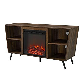 "Latest Amazon: We Furniture Az52Fp18Crdw Fireplace Tv Stand, 52"", Dark Intended For Dark Walnut Tv Stands (View 8 of 20)"